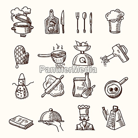 cooking process delicious food sketch icons