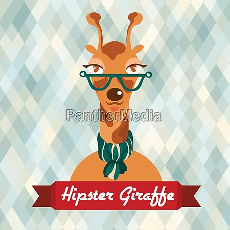 hipster giraffe with glasses and scarf