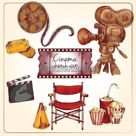 cinema entertainment media hand drawn elements