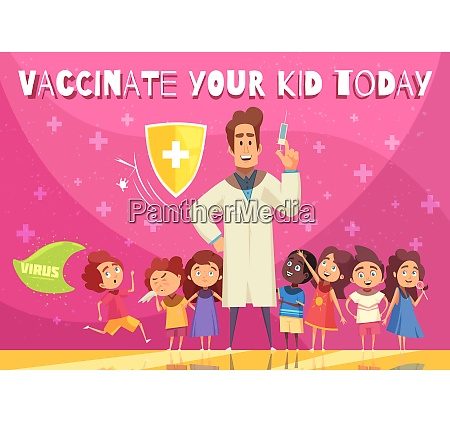 kids vaccination benefits promotion poster with