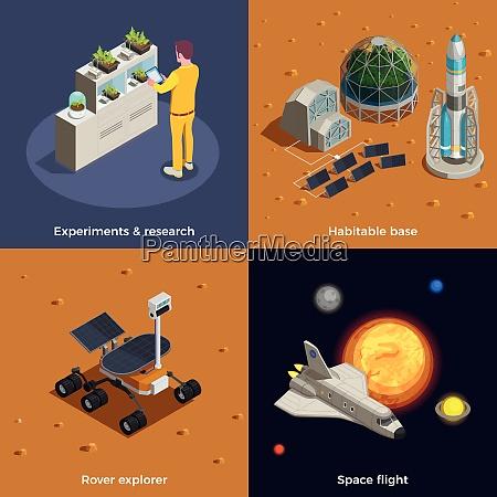 mars colonization 2x2 design concept set