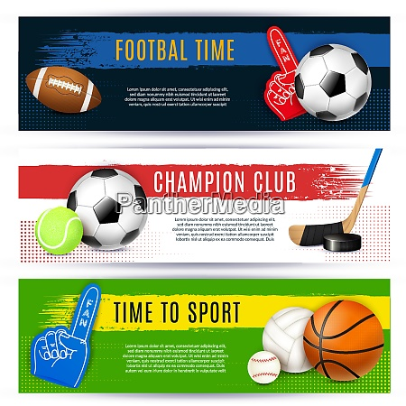 realistic sport banners set of three