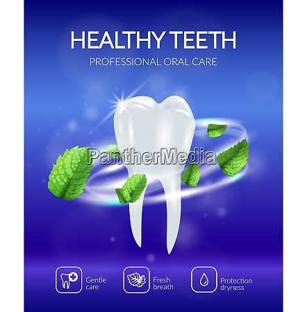 dental poster with realistic healthy tooth