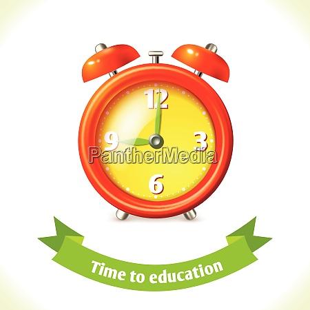 realistic school education alarm clock icon