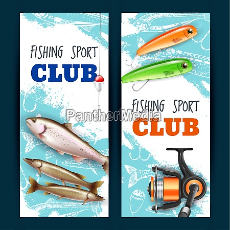set of vertical banners realistic fishing