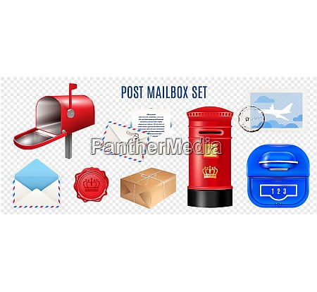 set of realistic postage elements mail