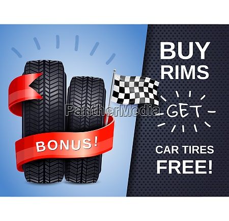 realistic car tires as present to
