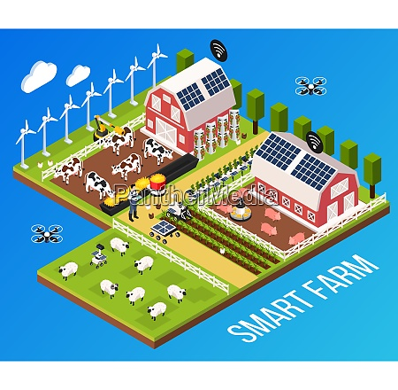 smart farm concept with technology and