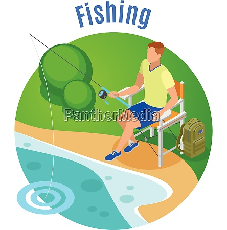 fishing isometric composition with hobby and