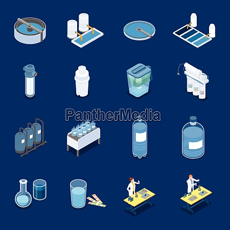 water cleaning systems isometric icons with