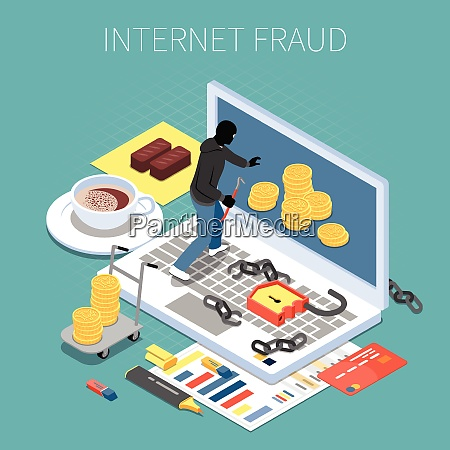 internet fraud isometric composition hacker with