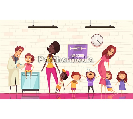 kids vaccination vector illustration with pediatrician