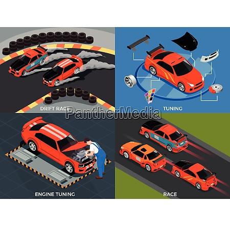 car tuning 2x2 design concept set