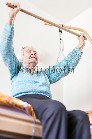 elderly 96 years old woman exercising