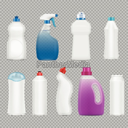detergent bottles set of realistic images