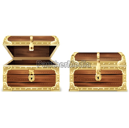 wooden chest realistic set with images