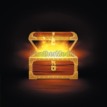 shine in old wooden chest realistic