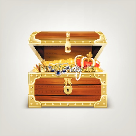 old wooden chest with treasures realistic