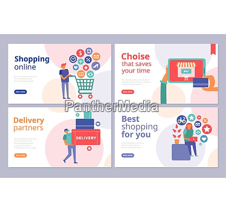 online shopping concept 4 flat banners