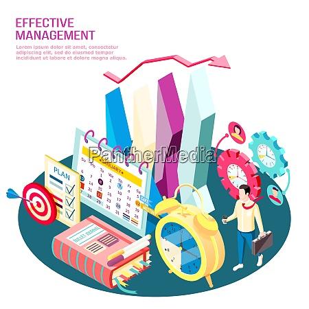 effective management concept isometric composition business