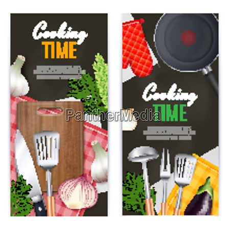 kitchen utensils vertical banners set with