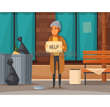 flat homeless people cartoon composition with