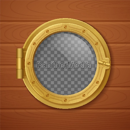 colored porthole realistic composition golden with