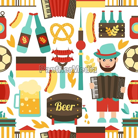 germany travel tourist attractions seamless pattern