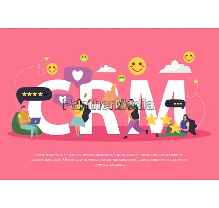 crm customer relationship management background composition