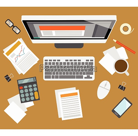 office business accounter management workplace with