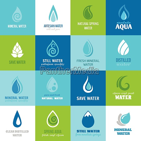 set of water design clean nature