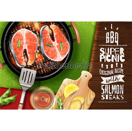 realistic background with grilled salmon steak