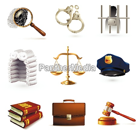 decorative law legal justice police icons