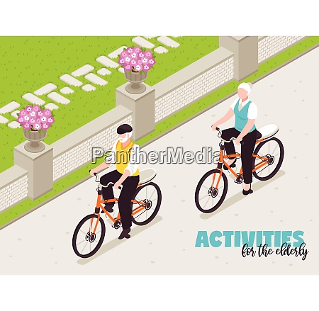 active senior people background with cycling