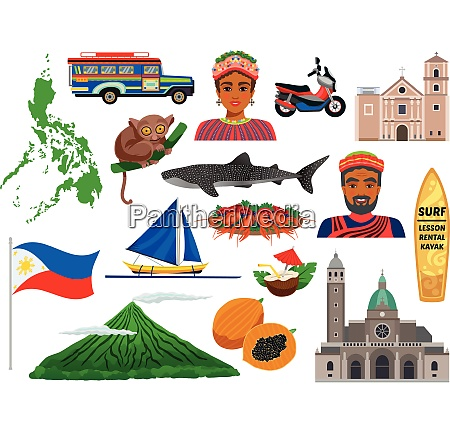philippines set of travel icons with