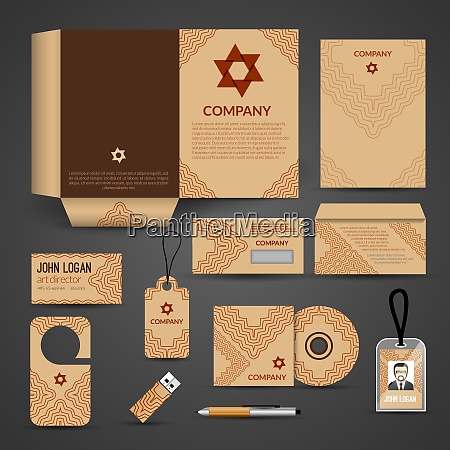 brown paper business stationery layout template