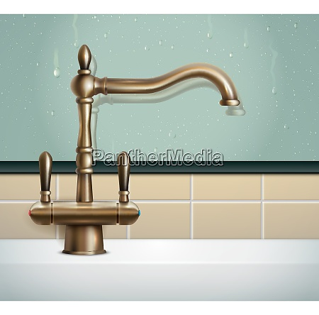 faucet realistic composition with view of
