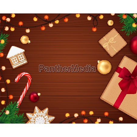 christmas realistic composition with wooden background