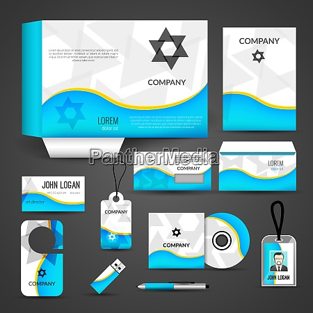 blue paper business style stationery layout
