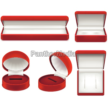 set of realistic open red jewelry