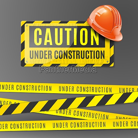 under construction realistic poster with orange