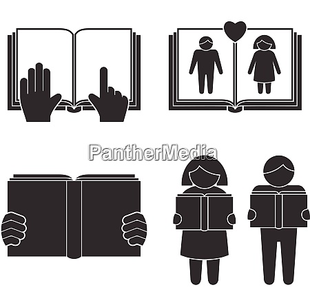 book reading icons set with black