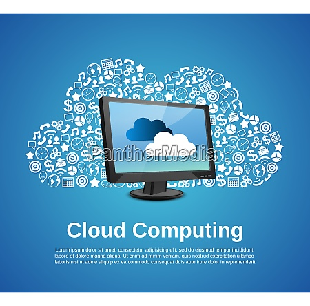 cloud computing concept with monitor and