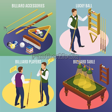 billiards isometric 2x2 design concept with