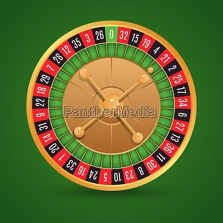 realistic casino roulette isolated on green