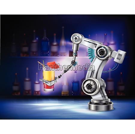 robotic arm serving cocktail at bar