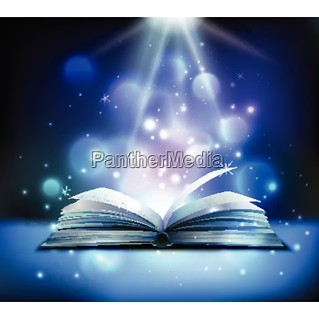 opened magic book realistic image with