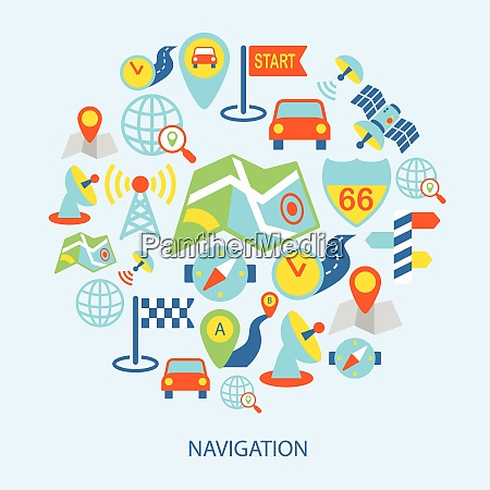 mobile navigation geolocation routing mapping flat