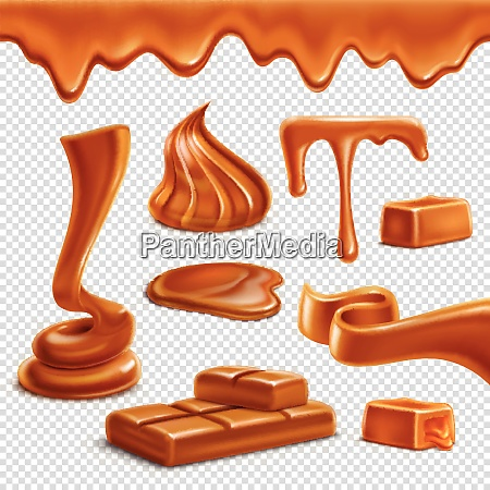 caramel toffee melted border drops puddles