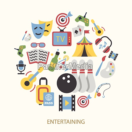 entertainment icons set with gambling bowling